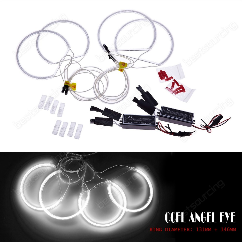 Free  shiping CCFL Angel Eyes Lamp Lights ring for E46 white lighting Non-Projector(CA012) free shipping ccfl angel eyes for bmw e90 e90 non projector halo ring e90 ccfl angeleyes lights