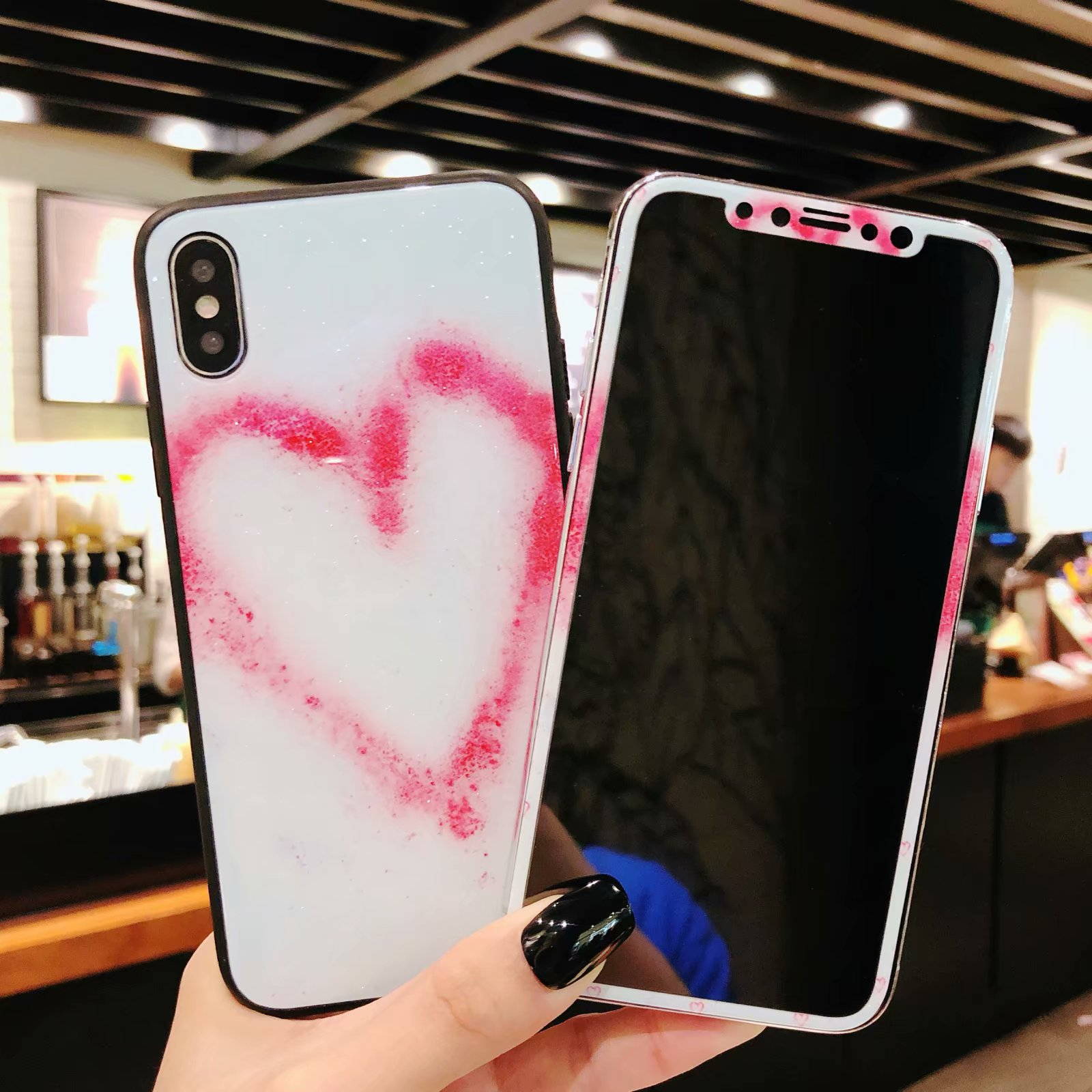 Bling love glass shell For iPhone X 8 7 6 6s plus case & front tempered glass film Cover for iPhone 8 7 plus red heart stickers
