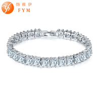 FYM Brand Square Cut Clear AAA Cubic Zirconia Bracelets For Women Silver Color Zircon Bracelets Jewelry