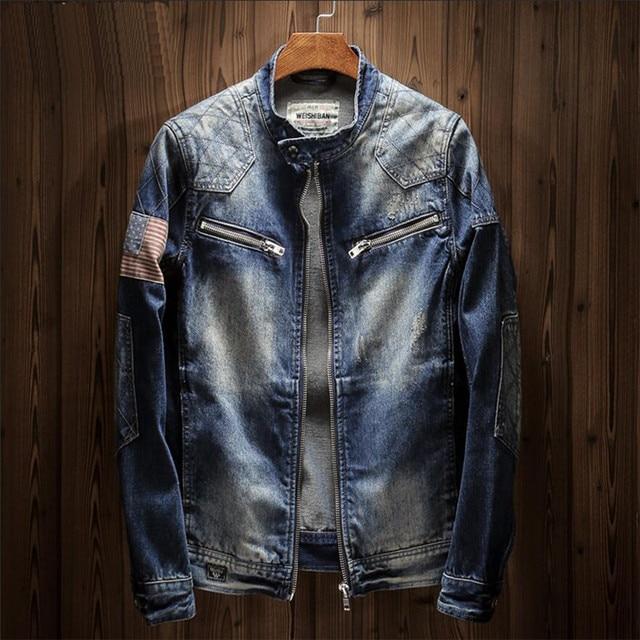 2019 New Jacket Men Fashion Slim Fit Denim Jacket Men Casual Splice Zipper Mens Jackets And Coats Plus Size Outwear 4XL A5425