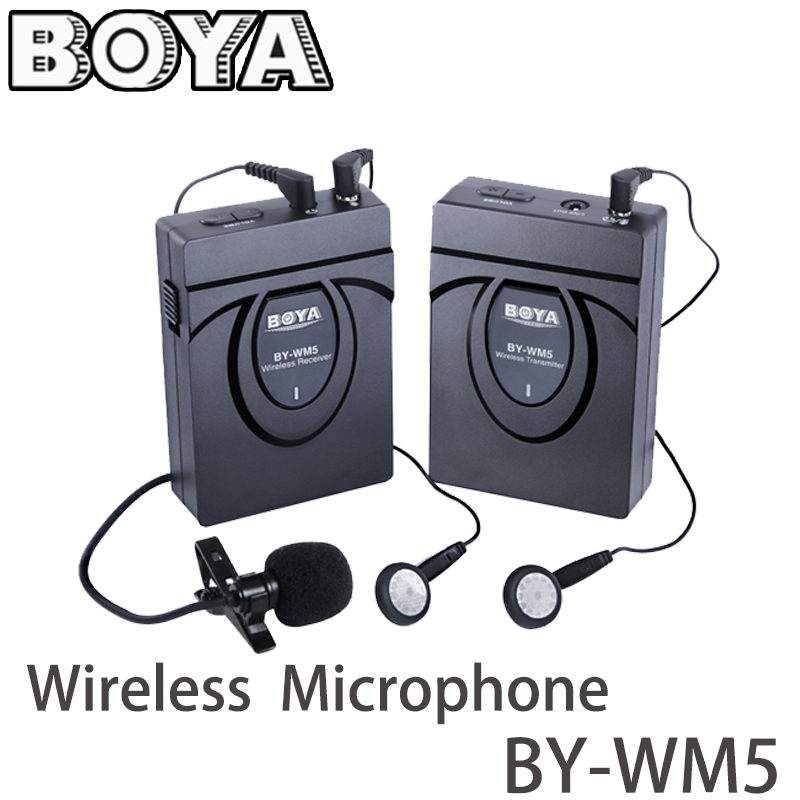 BOYA BY-WM5 Pro Wireless Lavalier Lapel Microphone System for DSLR Canon Nikon Sony DV Camera Camcorders Audio Studio Recorder boya by wm4 wireless lavalier microphone system for canon nikon sony panasonic dslr camera camcorder iphone android smartphone