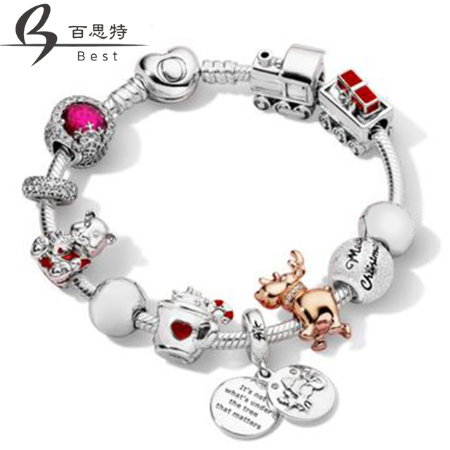 BEST  100% 925 Sterling Silver Winter Bracelet Set Merry Christmas Charm Dazzling Snowflake Charm ROSE REINDEER Original Jewelry