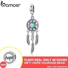 Meados do Ano Venda 925 Sterling Silver Bohemian Dream Catcher Pingente Charme fit Bracelet & Colares De Prata Jóias DIY Fazendo SCC961(China)