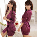 New Women Silk Satin Short Night Robe Solid Kimono Robe Sexy Bathrobe Peignoir Femme Wedding Bride Robe + Sexy thong underwear