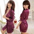 Novo De Seda De Cetim Mulheres Kimono Robe Curto Noite Manto Sólido Sexy Noiva Casamento Robe Roupão Peignoir Femme + Sexy tanga roupa interior