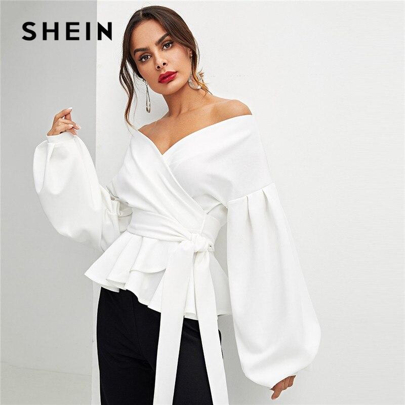 SHEIN blanco Oficina señora elegante linterna manga Surplice Peplum fuera del hombro blusa sólida otoño Sexy mujeres Tops y blusas