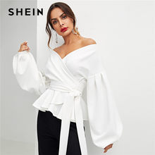SHEIN White Office Lady Elegant Lantern Sleeve Surplice Peplum Off the Shoulder Solid Blouse Autumn Sexy Women Tops And Blouses(China)