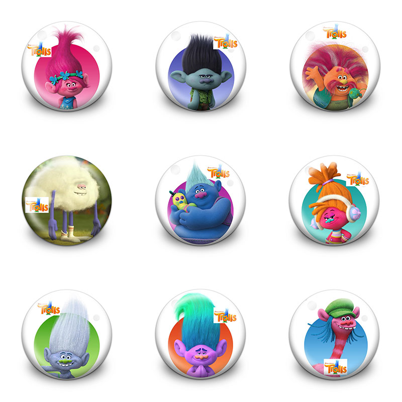 New Arrival 45pcs/lot Trolls Pins Buttons Badges Round Badges Fashion Bags Parts Accessories Party Kids Gifts