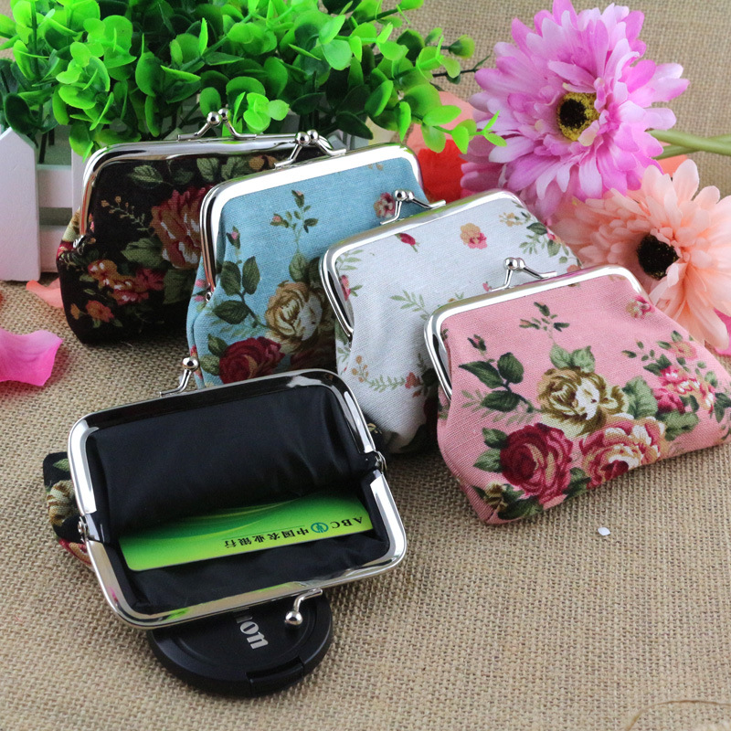 New Fashion Creative Coin Purse Canvas Rose Buckle Bag Fabric Ladies Card Small Gift Sweet Cute