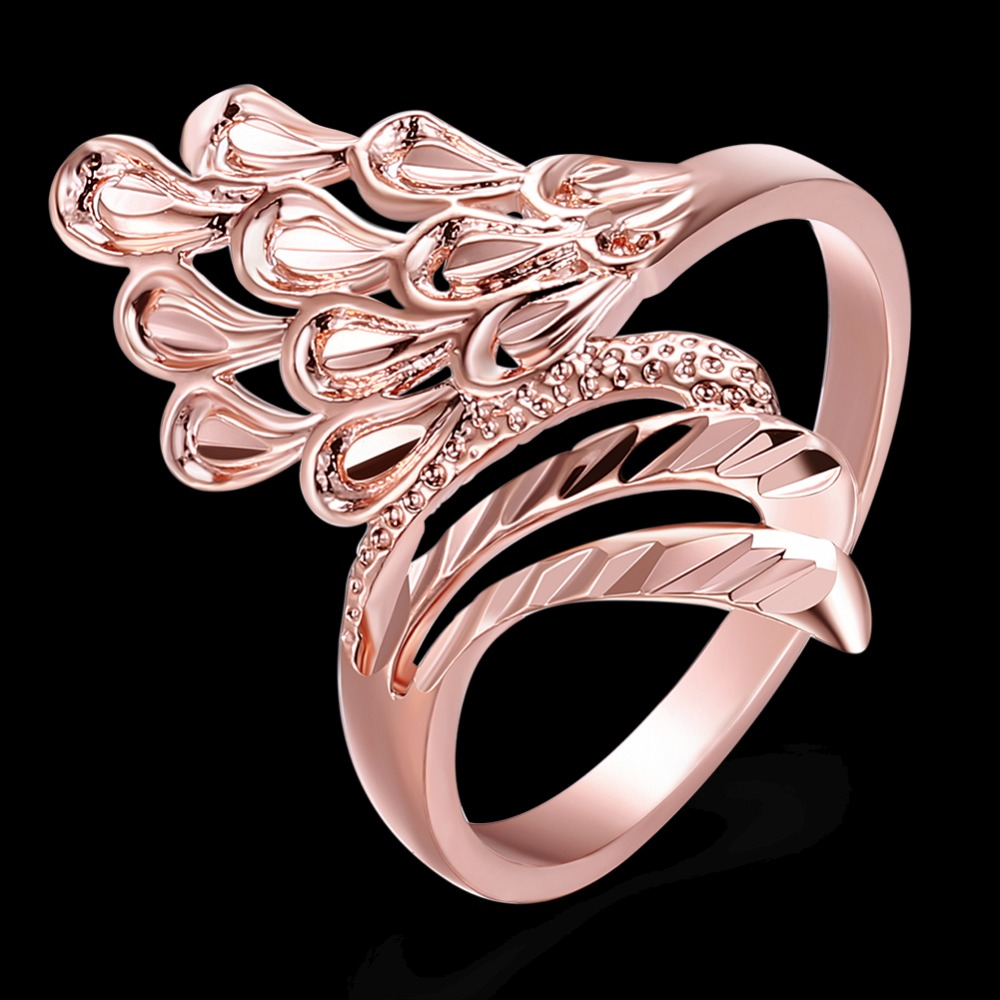 2017 Fashion New Women Jewelry Rose Gold Color Copper Feather Shape ...
