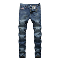 2019 Famous Brand Fashion Designer Jeans Men Straight Dark Blue Color Printed Mens Jeans Ripped Jeans 100% Cotton