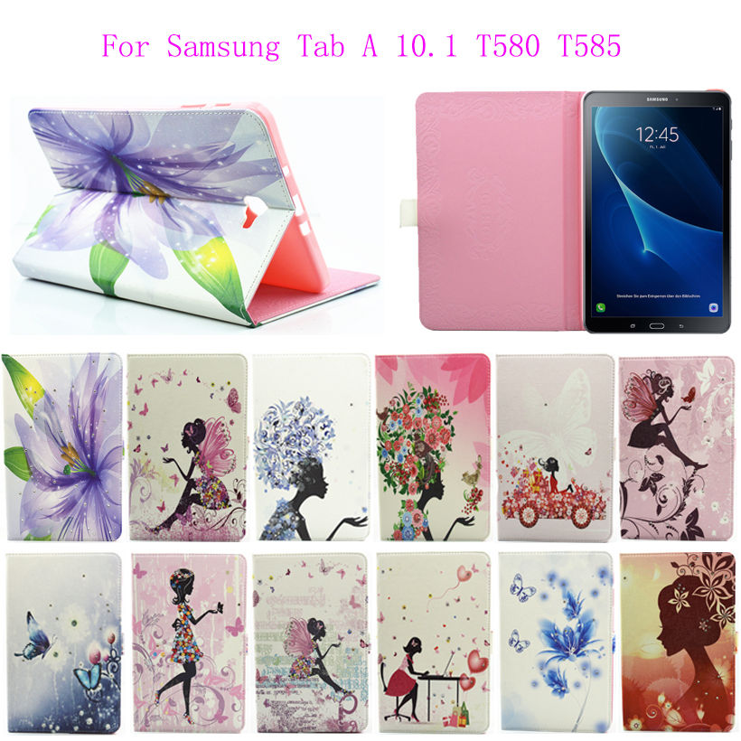 New Fashion Case For Samsung Galaxy Tab A a6 10.1 2016 T580 SM-T585 Case Cover Tablet Cartoon Girls Print TPU+PU Leather Funda fashion pu leather flip case for samsung galaxy tab a a6 10 1 2016 t580 t585 sm t580 smart case cover funda tablet sleep wake up