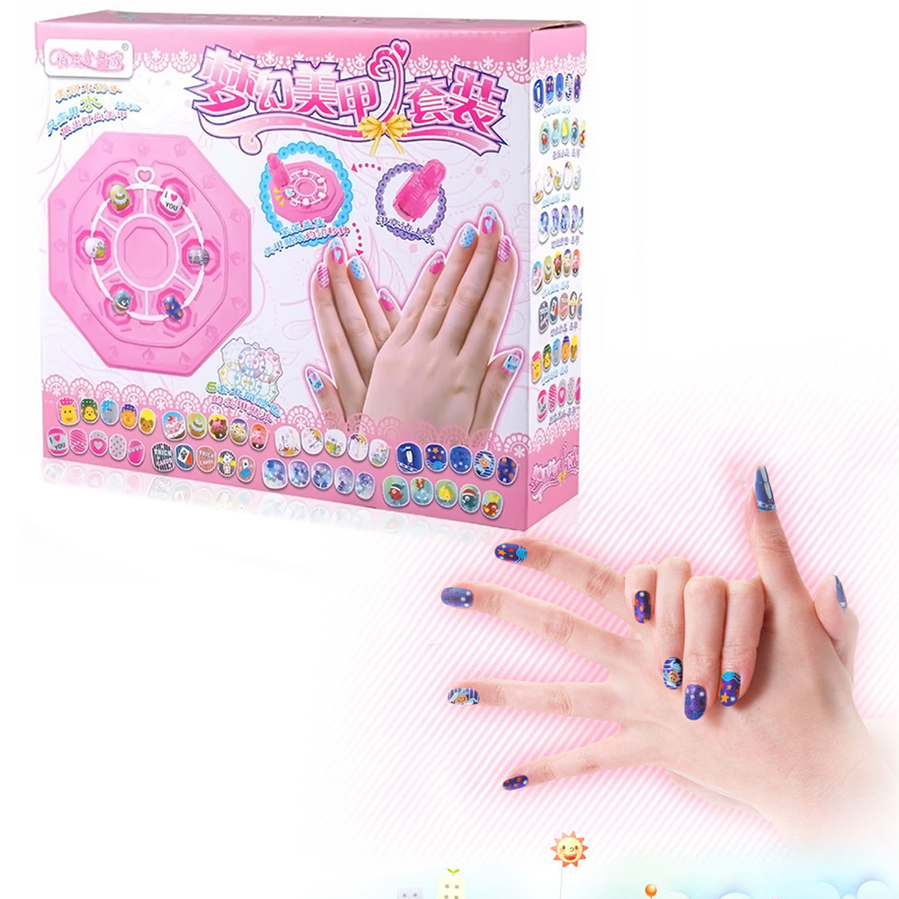 72 Kids Pretend Play Nail Art Beauty Cosmetic Makeup Design Table, Seal, Nail Transfer Drawings Nail Patches Stickers Toy Set