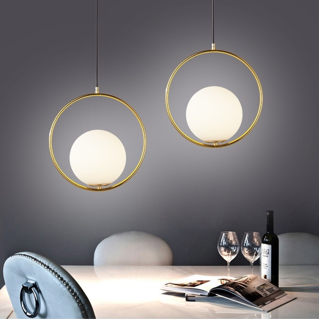 Modern Gold Circle Pendant Light Bedroom Hanging Lamp Droplight Dinning Room Single Head Glass Ball Pendant Lamp Glass Lampshade