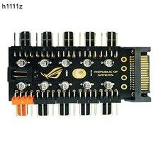 הכי חדש 1 כדי 10 PC קירור מאוורר Hub ספליטר LED PWM כבל SATA 12 V כוח אספקת מהירות בקר מתאם עבור Bitcoin כורה כרייה
