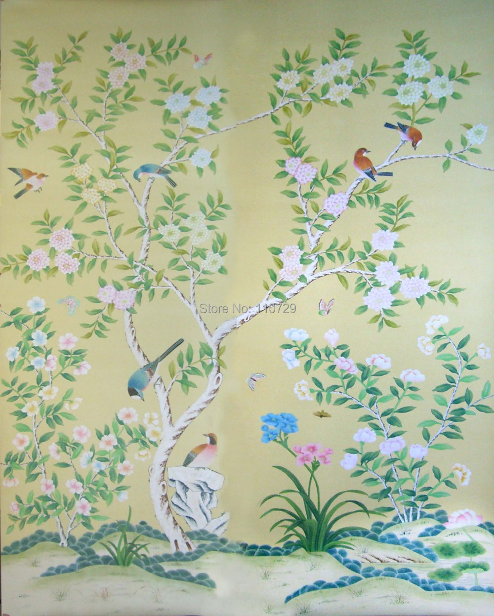 Decoration Material Hand Painted Silk Wallpaper Painting Flowers