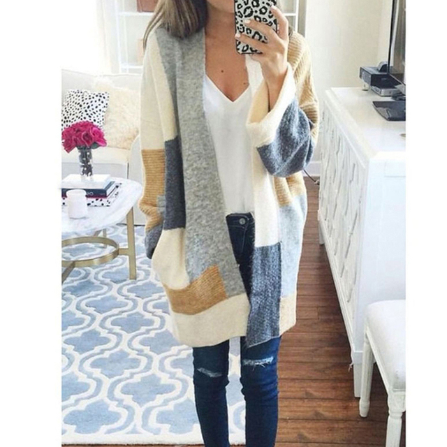 4254baa2c546aa Multi Color Women Winter Baggy Cardigan Coat Long Chunky Knitted Sweaters  Patchwork Fall Chic Long Cardigans Oversized