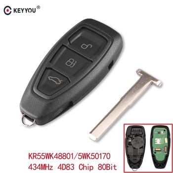 Chiave Telecomando Ford Focus C-Max Mondeo Kuga Fiesta B-Max 434/433MHz 4D83 Chip KR55WK48801 3 tasti