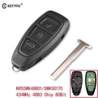 KEYYOU 434/433MHz 4D83 puce KR55WK48801 3 boutons clé de voiture télécommande clé pour Ford Focus c-max Mondeo Kuga Fiesta b-max