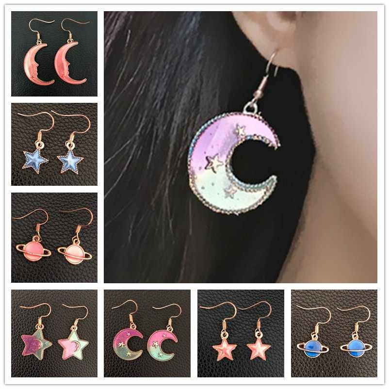 Galaxy Lovely Moon Star Drop Earrings Blue Universe Asymmetric Tassel Earrings Women Planet Pendiente Jewelry Cute Girl Brincos