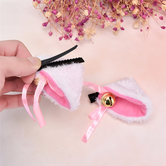 Cat Ears With Bell Hair Clip Cosplay Party Fox Long Fur Costume Hair Clip Halloween Gift Hair Accessory White Black Color