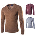 Mens Pullover Sweaters 2017 New Spring Fashion Brand Casual Solid V-neck Stylish Slim Fit Knitwear for Men Male Cotton Sweater