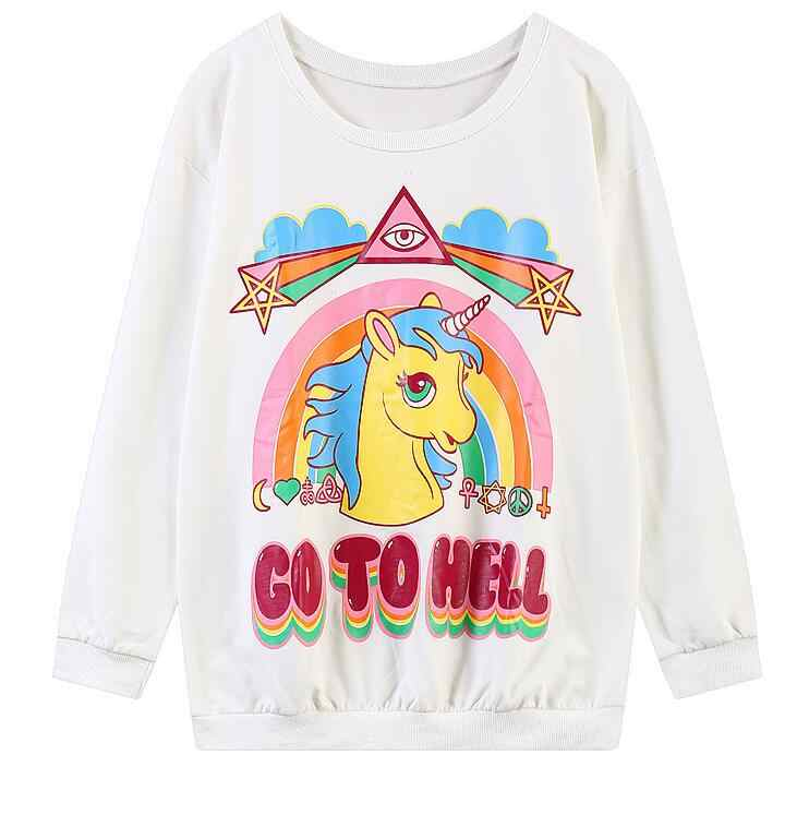 ... swag Unisex Harajuku style Unicorn hoodies My Little Pony Rainbow Dash  GO TO HELL printed women ... 4c053150d9f