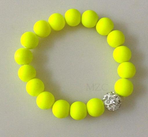 10mm 4Piece/lot Mix Neon Fluorescence Candy Color Stretch Elastic Line Crystal Ball Bead  Bracelets Men Women D3546