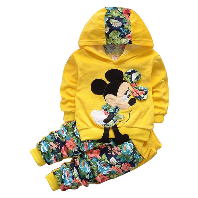 Baby Girl Clothing Sets Kids Children 2017 spring velvet clothing set Cartoon Minnie baby girls sport suit Hoodies + Pants