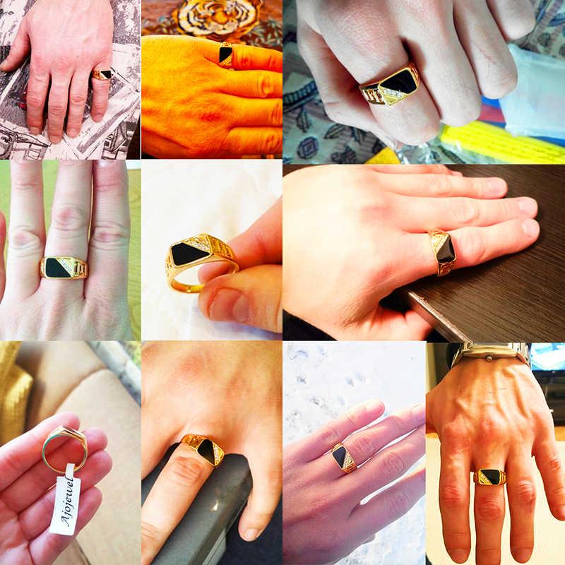 QCOOLJLY ใหม่แฟชั่นขนาด 7-12 คลาสสิกทองเงิน Rhinestone แหวนผู้ชายสีดำเคลือบแหวนที่ดีที่สุดขาย