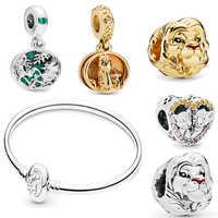 Neue Authentische 925 Sterling Silber König Der Löwen Simba Serie Anhänger Charme Fit pandora Armreif Lion King Simba Charme DIY schmuck