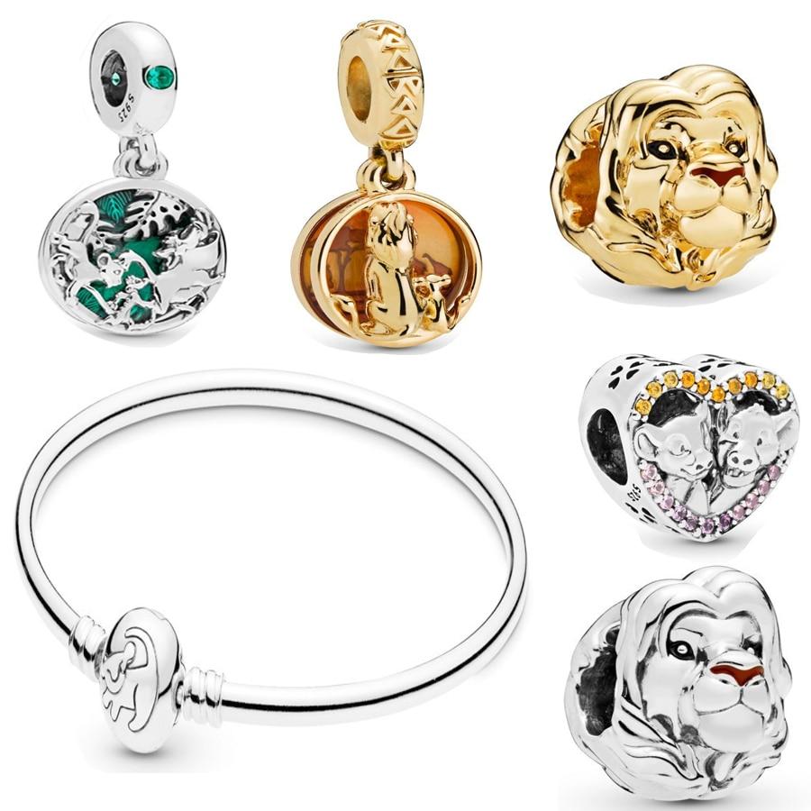 New Authentic 925 Sterling Silver O Rei Leão Simba Rei Leão Simba Série Charme Pendant Fit Pulseira pandora Charme DIY jóias