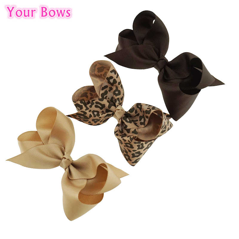 Your Bows 3Pcs/Lot 4inch Leopard Print Hair Bows  Girls Hair Clips Grosgrain Ribbon Bows Headwear Children Hair Accessories