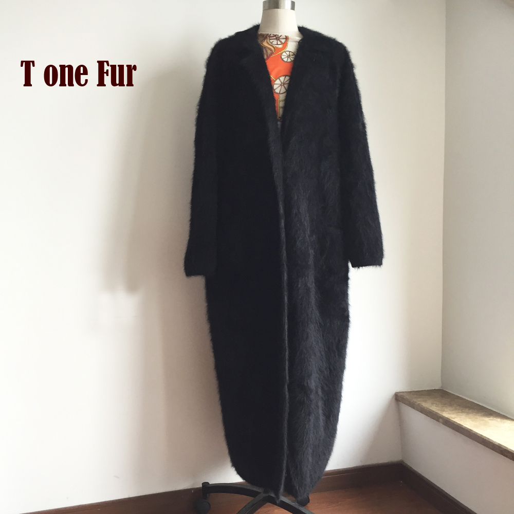 Knitted Genuine Mink Cashmere X Long Coat Fashion Real Mink Cashmere Long Fur Jacket Lady Sweater