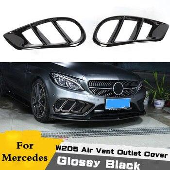 Pour C43 AMG pare-choc avant noir brillant couverture de sortie de ventilation garniture maille Grill pour Mercedes Benz C classe W205 C200 C300 Sport 15 +