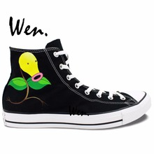 Wen Anime Hand Painted Black Canvas Shoes Pocket Monster Pokemon Bellsprout CosPlay Men Women's High Top Canvas Sneakers