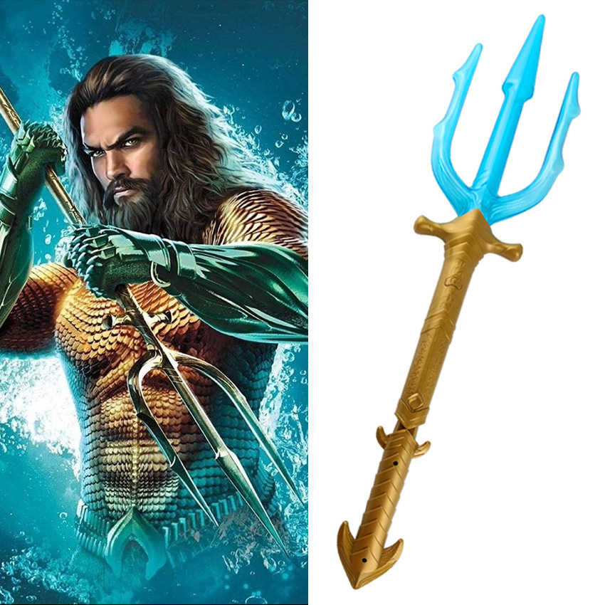 High Quality Anime Movie Aquaman Cosplay Props Kids Child illuminate Trident Arthur Curry / Orin Plastic Weapons Accessories N