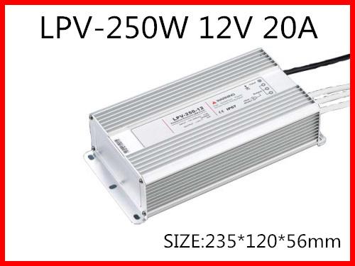 250W 12V 20A LED constant voltage waterproof switching power supply IP67 for led drive LPV-250-12 90w led driver dc40v 2 7a high power led driver for flood light street light ip65 constant current drive power supply