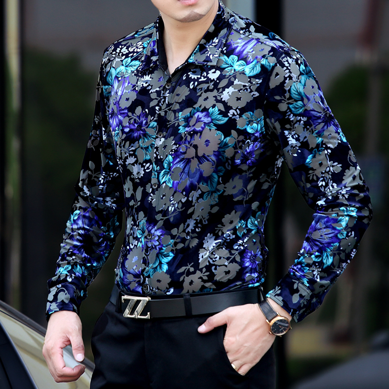 Online Shop 2015 Flower Shirts Men Blue Floral Shirts Velvet Slim ...
