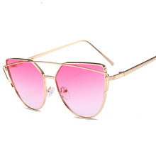 Women Retro Metal Frame Mirrored Sunglasses Oversized Cat Eye Glasses Eyewear Twin-Beam Sun Glasses UV400 Goggles Hiking Eyewear women s glasses feminine goggles limited edition my love from the star sunglasses women brand retro female sun glasses mirrored