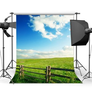 Image 1 - Rustic Farmland Backdrop Shabby Wood Green Grass Wheat Field Backdrops Blue Sky White Cloud Nature Spring Photography Background