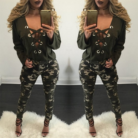 2017 DEEP V Neck Full Sleeve Autumn Bondage Cardigan Winter Tops Womens Tumblr Clothing Blusas Femininas