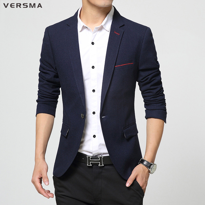 VERSMA 2017 Korean Style Clothing Mens Stylish Blazer Suit Jacket Party Wear Fitted Royal Blue ...