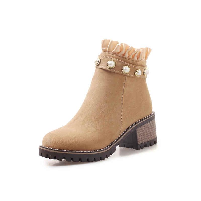 MORAZORA duży rozmiar moda string bead kostki buty dla kobiet jesień zima buty na wysokim obcasie okrągłe toe buty na kwadratowym obcasie