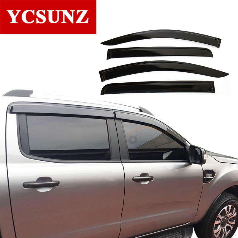2016-2017 Side Window Deflectors For Mitsubishi L200 Pickup Black Color Car Wind Deflector Guard For Mitsubishi L200 Ycsunz 2015 2017 car wind deflector awnings shelters for hilux vigo revo black window deflector guard rain shield fit for hilux revo