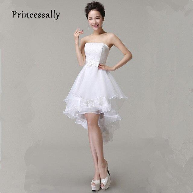 גבוהה נמוכה שמלות כלה נפוחה אמצע שוק תחרה לבנה תחרה יוקרה עד Vestido דה פסטה קצרה קדמי ארוכה חזרה מפלגה שמלת