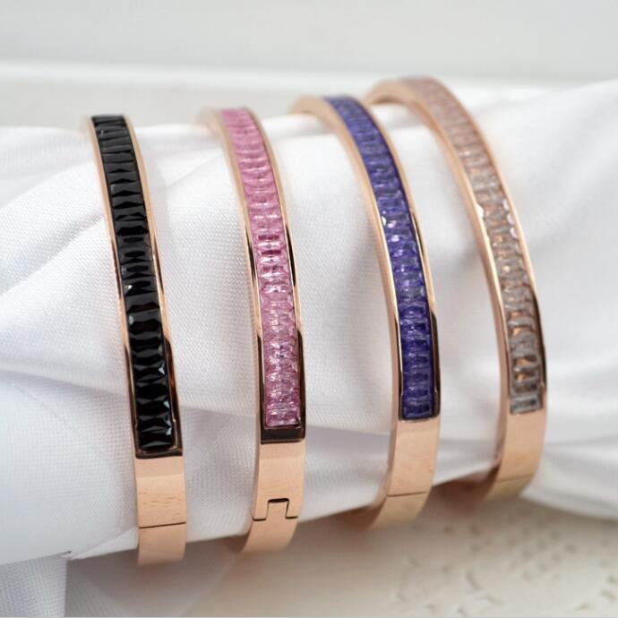 Elegant Black Ceramic Pink Blue White Marble Stone Cuff Bangle & Bracelet Women Rose Gold Colour Titanium Steel 5mm Medium Band