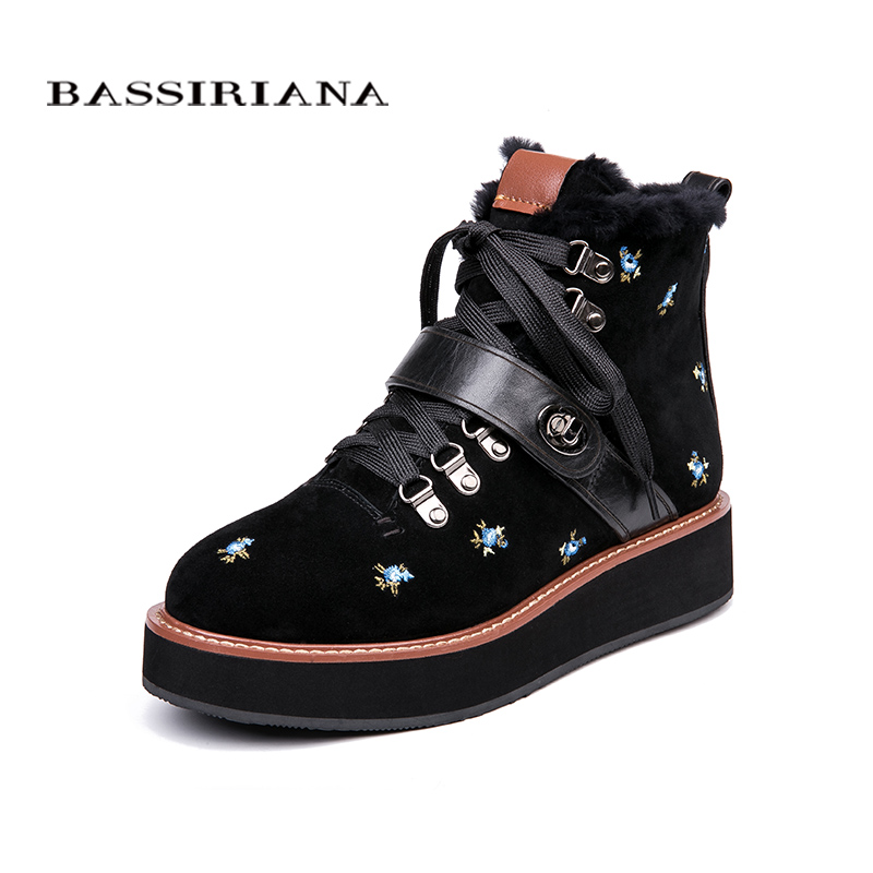 все цены на BASSIRIANA 2018 Winter New Natural Leather Women's Flats Black Grey Size 35-40 Free Shipping онлайн