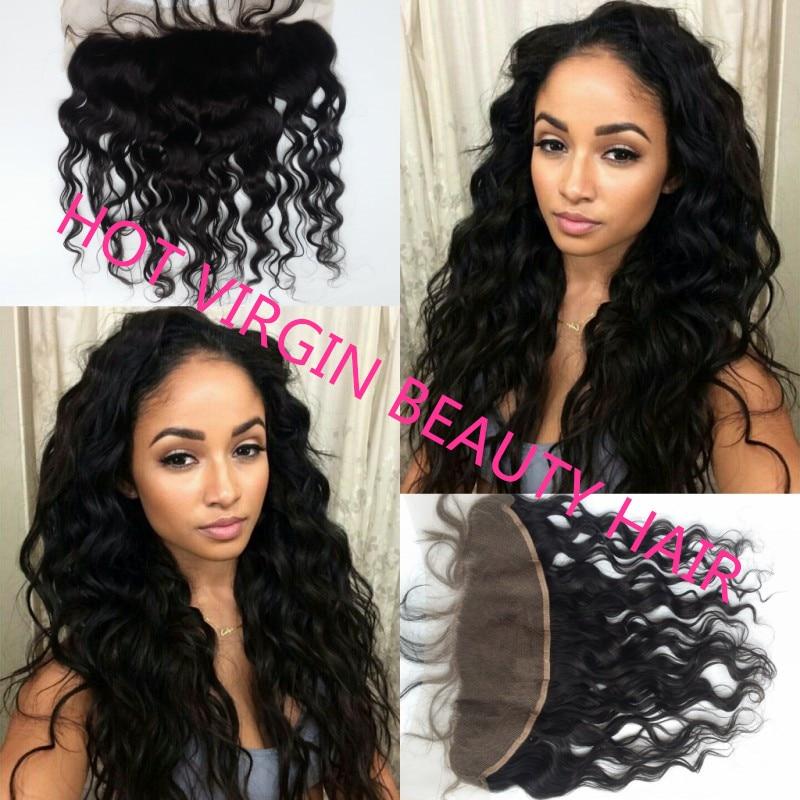 Lace Frontal Closure Human Brazilian Virgin Hair Lace Front Human Hair  Frontals Closure Water Wave 4