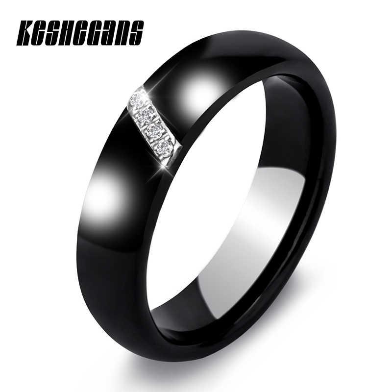 ใหม่ 6MM คริสตัลเซรามิคแหวน Cubic Zirconia หินสีดำและสีขาวผู้หญิงเครื่องประดับหมั้นงานแต่งงานของขวัญผู้หญิง